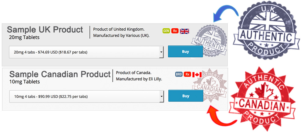 Look for these authentic canadian and UK seals on our products